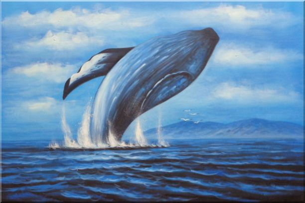 Whale Jumping Out of the Water Oil Painting Animal Marine ...